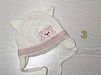 Шапка для девочки с ушками с заворотом на завязках демисезонная Размер 40-42 см, фото 4