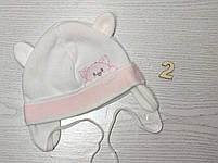Шапка для девочки с ушками с заворотом на завязках демисезонная Размер 40-42 см, фото 3