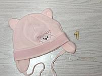 Шапка для девочки с ушками с заворотом на завязках демисезонная Размер 40-42 см, фото 2