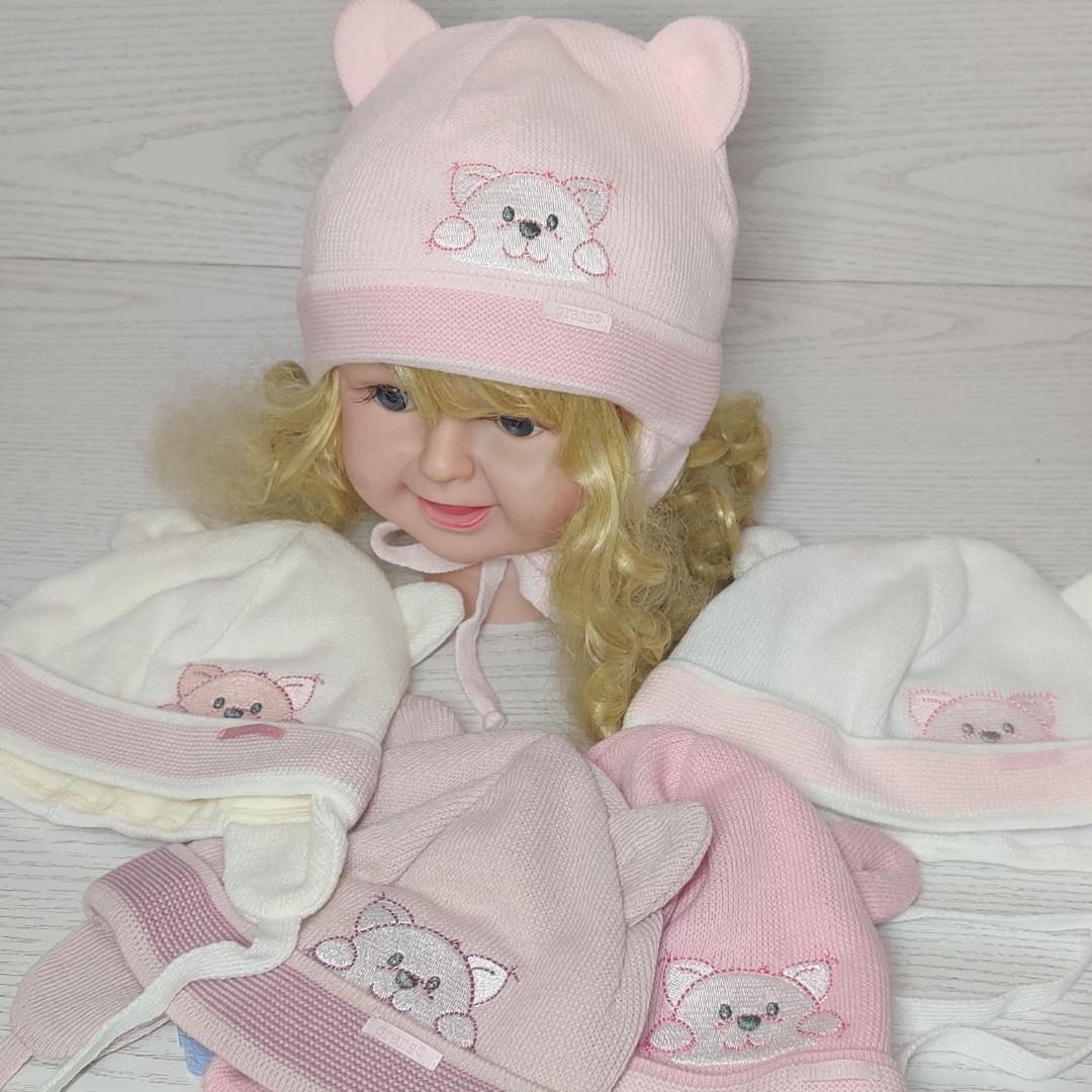 Шапка для девочки с ушками с заворотом на завязках демисезонная Размер 40-42 см