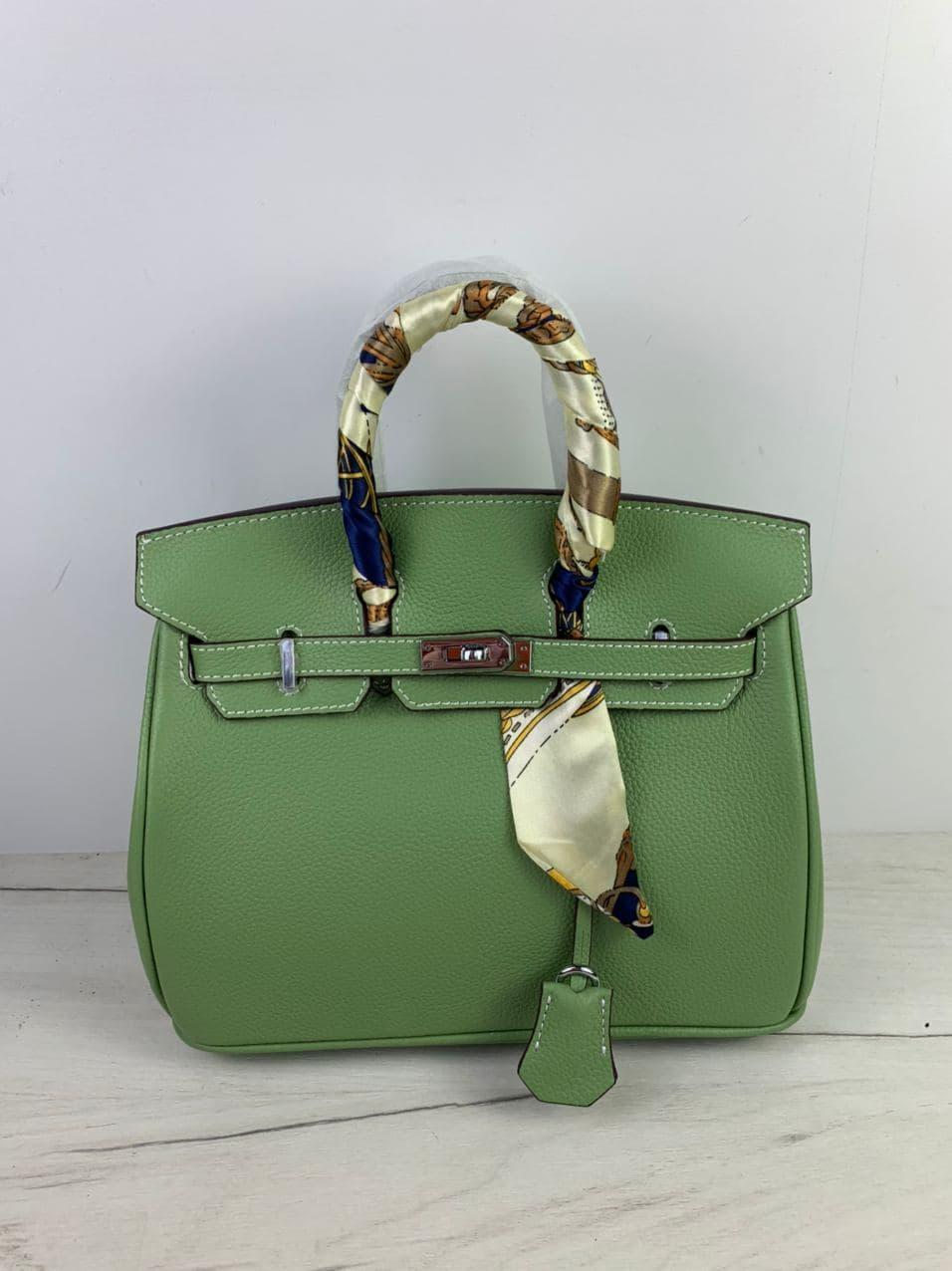 Сумка в стиле Хермес Биркин 25см / серебристая фурнитура  / натуральная кожа (835-25) Зеленый