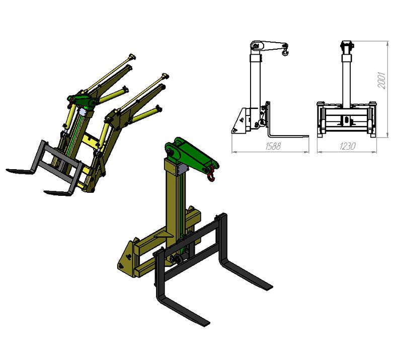 Телескопическая крюковая навеска-штабелер