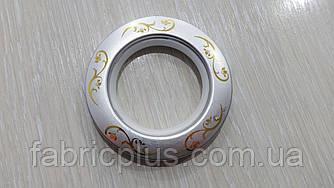 Люверсы пластик  6,2*4,2 см цвет серебро с рисунком матовые