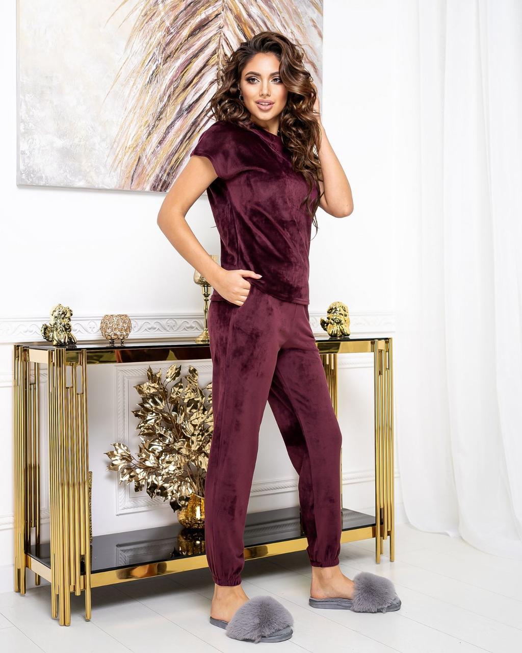 Пижама женская, домашний костюм Бордо