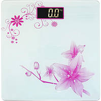 Весы напольные стеклянные (квадратные) на 180 кг Domotec MS-1604 White (Flower) (3272)