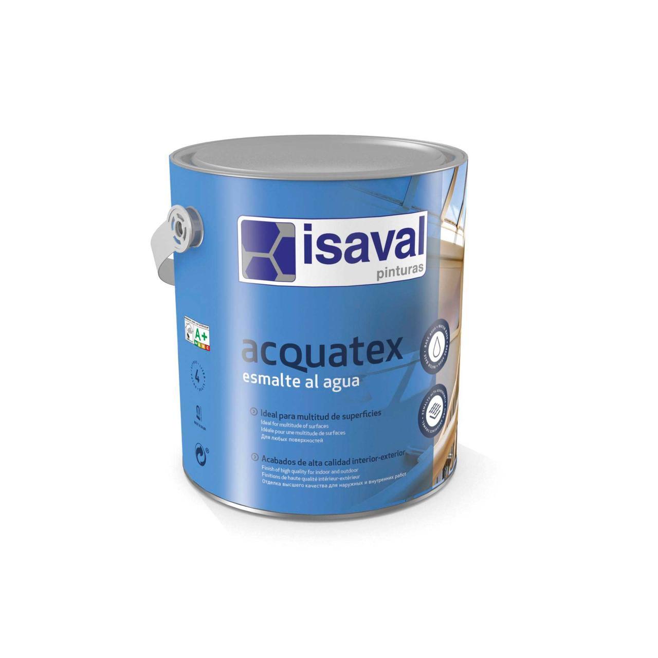 Акриловая эмаль на водной основе белая, матовая или глянцевая, Акватекс ISAVAL 4л