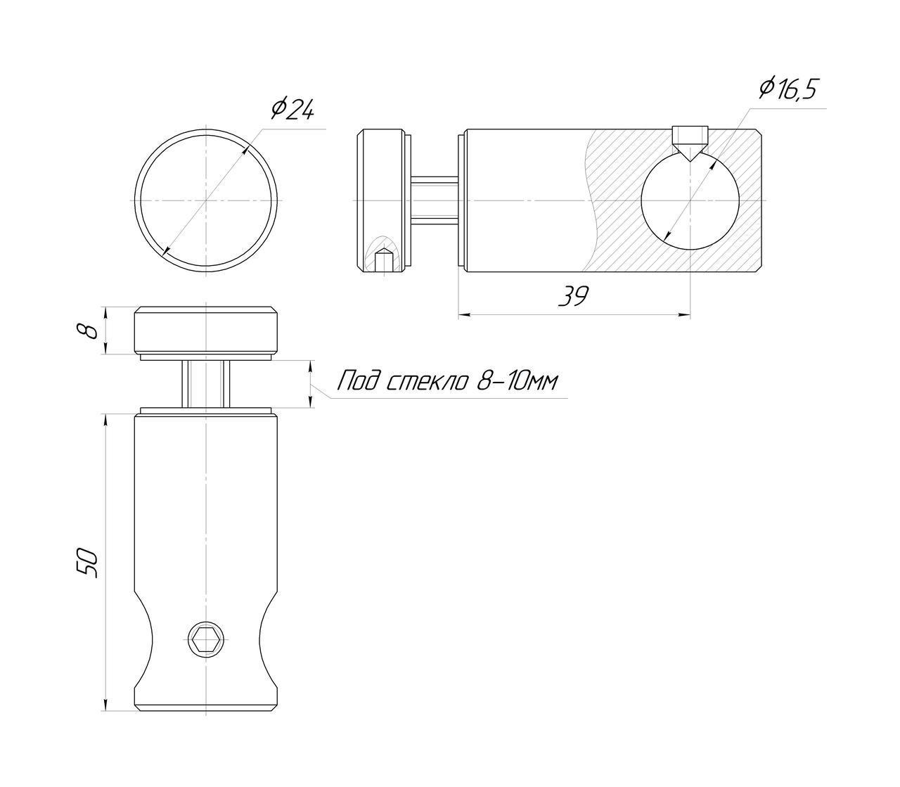 ODF-09-12-21 Т-образный соединитель штанги 16 мм к стеклу сквозное, черный, для душевой перегородки