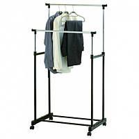 Вешалка стойка для одежды напольная двойная телескопическая Double-Pole Clothes-horse Black (2554)