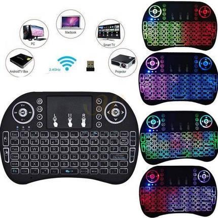 Бездротова клавіатура з тачпадом і підсвічуванням, міні пульт (аэромышь) для Smart TV, MINI KEYBOARD I8 LED, фото 2