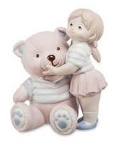 """Фарфоровая статуэтка """"Девочка с мишкой"""" бисквит (Pavone) JP-48/30"""