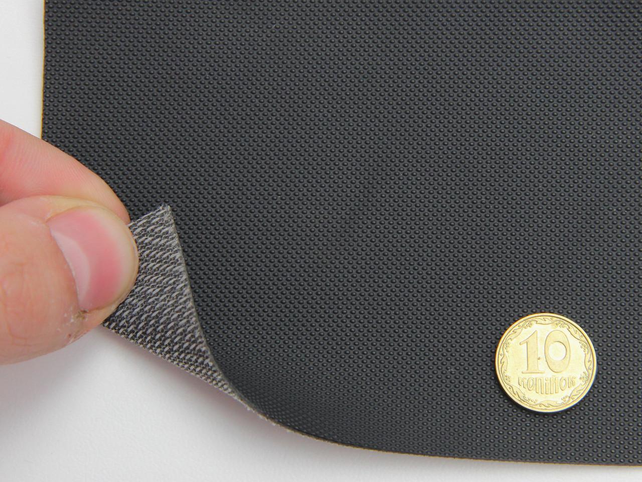 Кожзам черный для сидений авто (текстурированный 09-84) на тканевой основе, ширина 1.60м