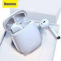 Беспроводные Bluetooth наушники гарнитура BASEUS Encok True Wireless Earphones W04 белые TWS