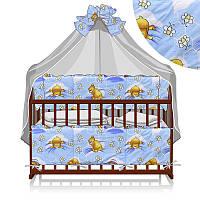 Постельный комплект 7 предметов (1) Мишка в постели КПЛ-23 7243 - цвет голубой ТМ Беби-Текс