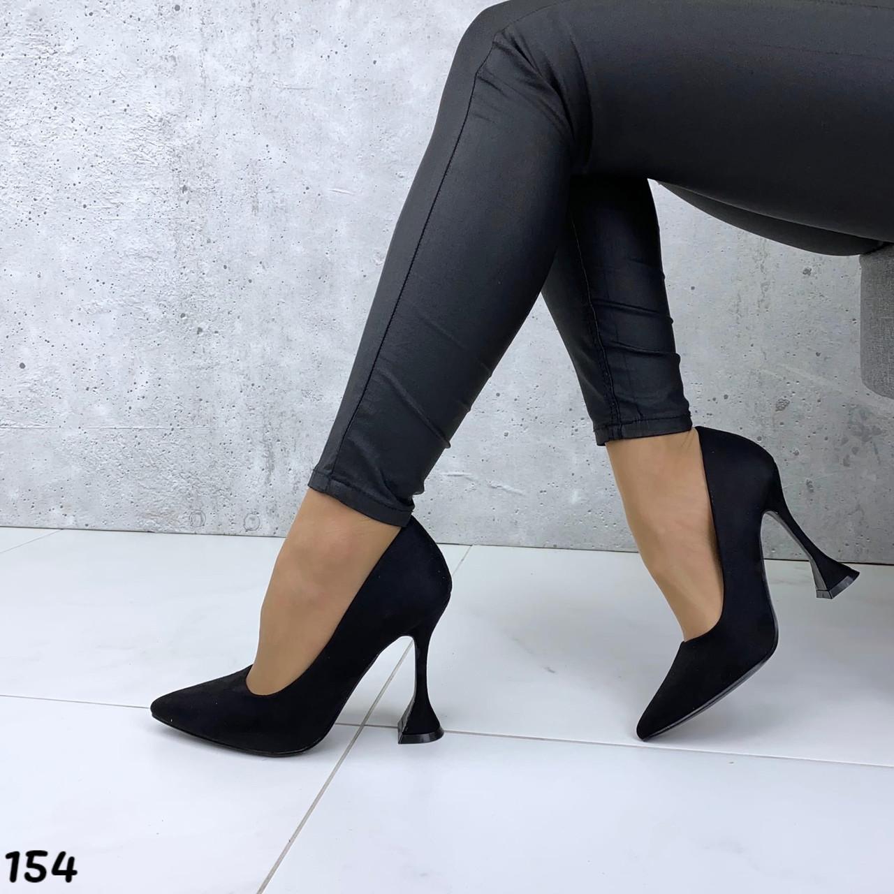 Черные лодочки туфли эко замша