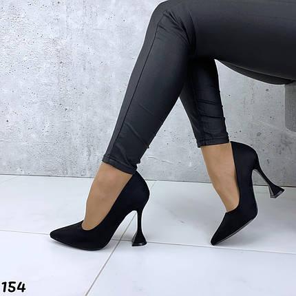 Черные лодочки туфли эко замша, фото 2