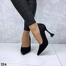 Черные лодочки туфли эко замша, фото 3