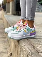 Женские кроссовки разноцветные Nike Air Force 1 Shadow. Кроссы для девушек Найк Аир Форс Шедоу