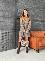Платье-рубашка в клетку с кожаной вставкой и с поясом