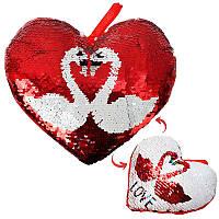 М'яка іграшка серце «Лебеді з паєтками» 077425В