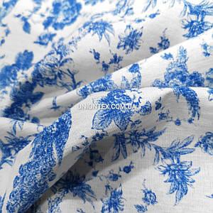 Ткань стрейч лен принт синие цветы с птицами