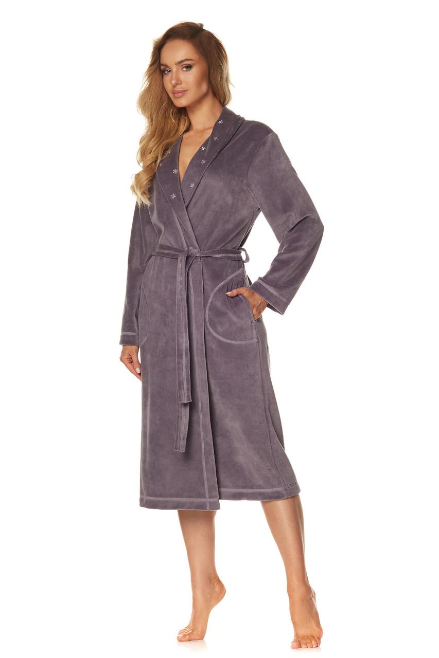 Женский велюровый халат L & L 2085 FLOW, 2XL темно серый