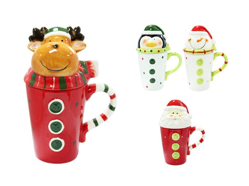 Оригинальная новогодняя чашка с Оленем Снеговиком Пингвином 375мл 7355-4