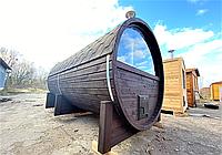 Баня бочка под ключ с панорамным окном из термобруса 4х2,4 м