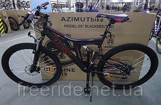 Подростковый велосипед Azimut Blackmount 24 G-FR/D (16) черно-красный