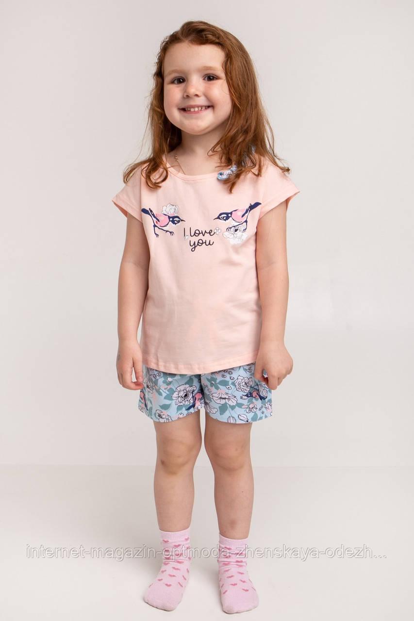 """Гарний дитячий комплект піжама для дівчаток шорти і футболка """"Пташки"""""""