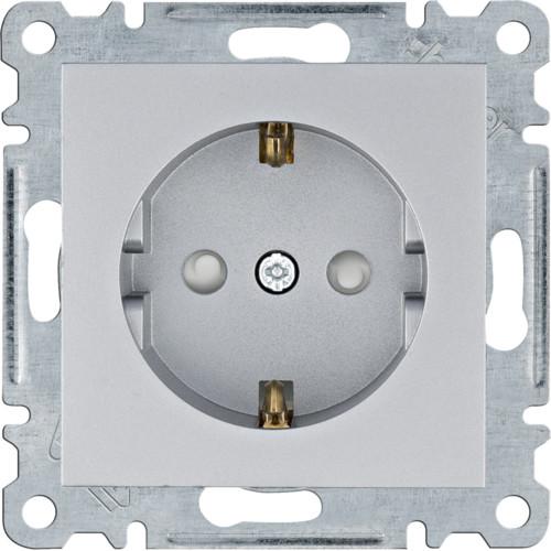 Розетка із заземленням і захистом контактів Hager Lumina Сріблястий матовий