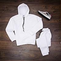 Спортивный костюм мужской теплый флисовый с капюшоном толстовка и спортивны штаны Белый