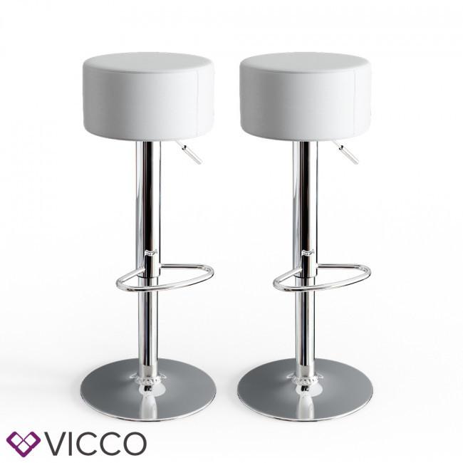 Барный стул 2 шт, хоккер с подставкой для ног, Vicco, белые