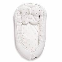Гнездышко-кокон для малышей с жесткими бортиками двухсторонний для новорожденных Velvet Twins, белый