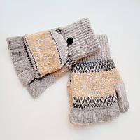 Жіночі вовняні рукавички без пальців з накидним верхи світло сірі