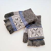 Жіночі вовняні рукавички без пальців з накидним верхом бежеві