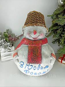 Фигурка Снеговик в шарфе 40 см