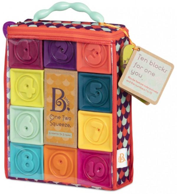 Розвиваючі силіконові кубики Battat - ПОРАХУЙ-КА! (10 кубиків, в сумочці)