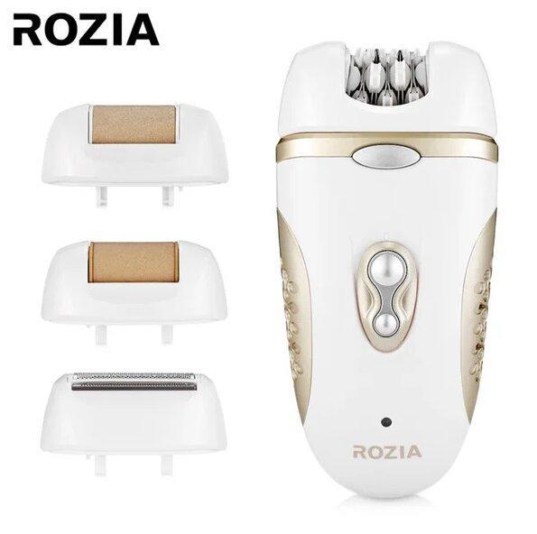 Эпилятор Rozia Hb-6007 Женский С 4 Насадками + Подарочная Упаковка Белый