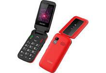 Телефон раскладной бабушкофон кнопочный с дополнительным экраном на 2 сим карты Nomi i2400 красный