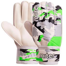 Перчатки футбольные MITER серо-салатовые FB-6744, 9