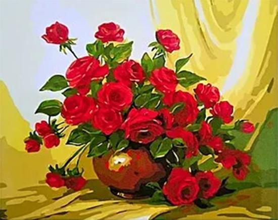 Картина по номерам 40х50 см DIY Красные розы в вазе (NX 9542)