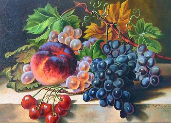 Картина по номерам 40х50 см DIY Натюрморт с виноградом и персиком (NX 3945)