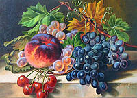 Картина по номерам 40х50 см DIY Натюрморт с виноградом и персиком (NX 3945), фото 1