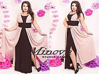 """Женское шикарное платье MAXI """"Фея"""" т. микромасло+шифон / батал / коричневый+светло-розовый"""