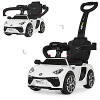 Детский электромобиль каталка-толокар с родительской ручкой M 3591 L-1, Lamborghini, кожаное сиденье, белый