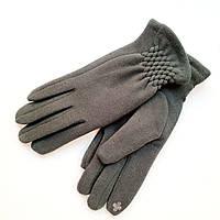 Жіночі трикотажні рукавички з сенсорним пальцем на хутрі зелені