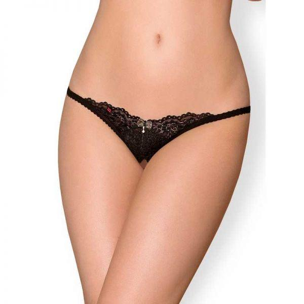 Стринги с интимным вырезом Obsessive 852-THC-1 crotchless thong L/XL