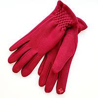 Жіночі трикотажні рукавички з сенсорним пальцем на хутрі бордові