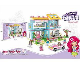 """Конструктор 9516 JDLT FASHION GIRLS""""Счастливая семья""""Загородный дом,1049 деталей."""