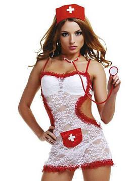 Костюм медсестри білий мереживний, 4 предмета M/L